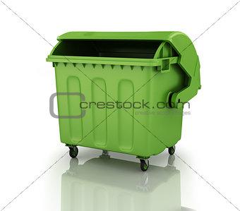 A large green recycling bin