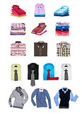 Collection of men's shirts and sweaters on a white background