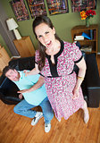 Angry Woman Grabbing Husband