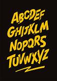 Graffiti comics style font. Vector alphabet