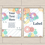 Card with Colorful Background Bector Gears