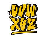 Graffiti style font. Vector alphabet (part 3)