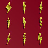 Lightning 3d icons set