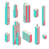 Set of vector tall buildings