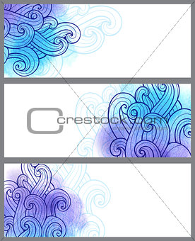Blue abstract banners