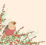 Bird and flowering branch