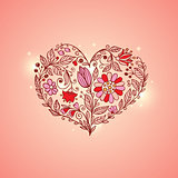 Hand drawn floral heart