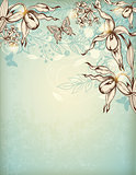 Hand drawn floral background with orchids