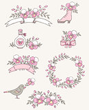 Doodle design elements with orchids