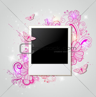 Background with photo and pink flowers