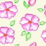 Seamless pattern with pink watercolor flowers