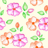 Pattern with pink and orange watercolor flowers
