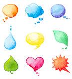 Set of watercolor design elements