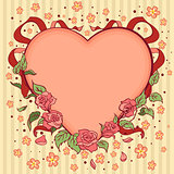 Heart Valentines day retro background