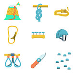 Flat color vector icons for climbing outfit