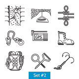 Black vector icons for rock climbing accessories