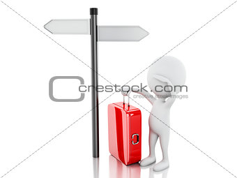 3d white people with travel suitcase and blank road sign.
