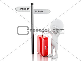 3d white people with travel suitcase. World Travel concept