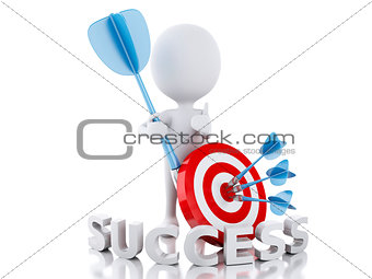 3d white people hit the red target. success concept
