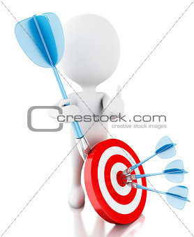 3d white people with darts and target. success in business
