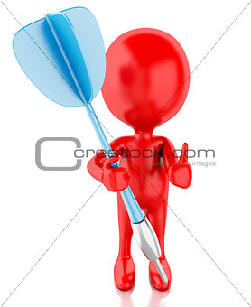 3d red people with darts. Isolated white background