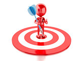 3d red people with darts and target. success in business