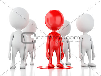 3d red man on target. business leadership success concept
