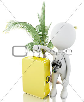 3d man tourist with travel suitcases and camera