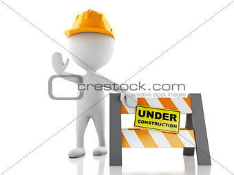 3d white people stop sign with Helmet. Under construction concep