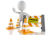 3d white people stop sign with traffic cones. Under construction