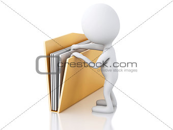 3d image. White people with yellow folder.