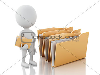 3d image. White people examines folders.