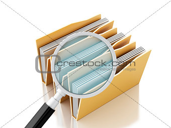 3d magnifying glass and computer files