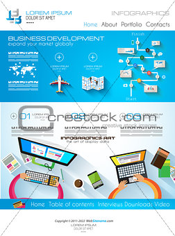 Modern website template with flat style infographics layout