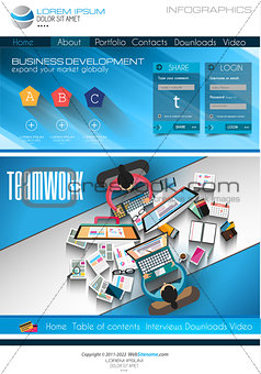 Modern website template with flat style infographics layoutModern website template with flat style infographics layout