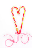 Candy cane heart background. Christmas love.