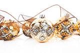 Luxurious golden christmas balls.