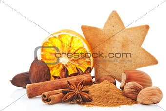 Culinary aromatic spices still life.