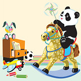 cartoon panda riding rocking horse