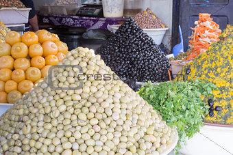Olives and pickled lemon.