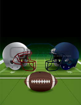 American Football Helmets, Ball, and Turf FIeld