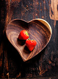 heart shape plate on wooden table