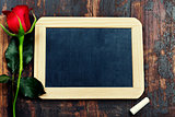 chalk board and rose