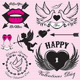 set vector patterns for love cards for Valentines Day
