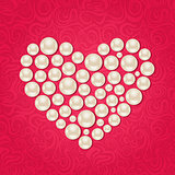 Pearl Heart on Pink Background