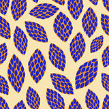 Dark Blue Hand Drawn Leaf Pattern