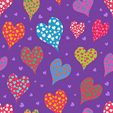 Hand Drawn Cartoon Heart Seamless Pattern