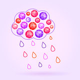Vector Gem Cloud with Rain Drops