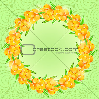 Card with Round Frame from Sea-buckthorn Berries