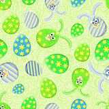 Seamless Pattern with Easter Egg and Bunny